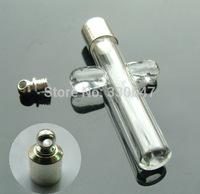 Free shipping wholesale 50pcs/lot_Glass Vial Pendants cross 6mm