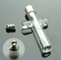 Free shipping wholesale 50pcs/lot_Glass Vial Pendants cross 6mm