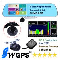 2014 new original H200 Allwinner A10 cpu car dvr rearview mirror GPS + 5 inch +  dual camera FHD1080P@30fps dash cam