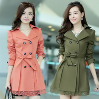 New 2014 Korean Desigual Lace Hem Trench Coat Fashion Women Coat Tops  Bouble-breasted Overcoat  OL Outerwear Plus Size