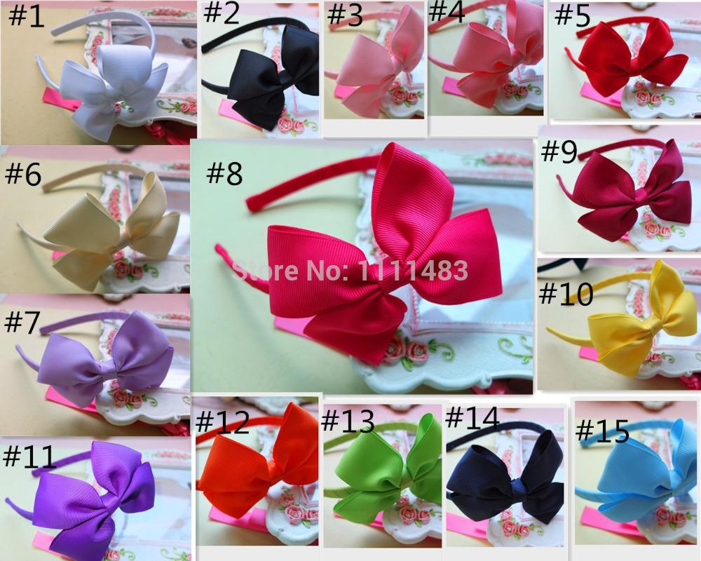 U Pick Colors Weave Headband 10mm plastic headbands with bows Hair Hoop Fashion ribbon hairband Girls headwear Free shipping(China (Mainland))