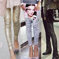 Drop Ship 2014 Fashion Calca Feminina Autumn Bling Sequin Trousers,Shining Gold Black Silver Spangle Sequin Formal Pants Women