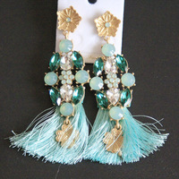 European and American retro super flash colored Crystal Rhinestone flower pendant tassel earrings Clover