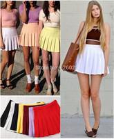 2014 Fashion Women's American Apparel Streetwear High Waist Slim Ball Tennis Pleated Skirt White Black Red Pink Yellow S-L size