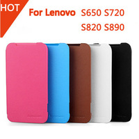 Original Lenovo S650 S720 S820 S890 high quality Flip PC Hard Back Cover + Front Leather Case