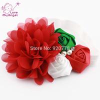 1PCS Baby girl Christmas headbands chiffon flower headband for Newborn kids hair Accessories white red headband  L52