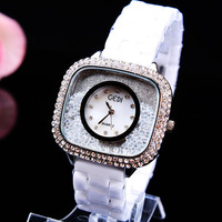 Free shipping,Newest style, High quality,Ms square diamond quicksand table ceramic fashion leisure quartz watch