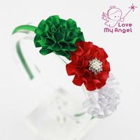 1pcs Baby girl Christmas headbands Satin ribbon flower hairband newborn kids Toddler hair Accessories