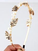 Baroque luxury vintage pearl hair bands Korea leaves broadside issuing headdress hair accessories