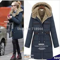Free Shipping!Long Style Women Warm Down Coat 3 Colors Winter parkas coat Size S-XL
