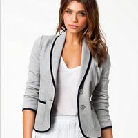 Brand New Fashion Spring Women cotton Blazer Short Design Turn Down Collar Slim Blazer Grey Short Jacket Coat For Women R901