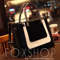 Fashion black-and-white 2014 colorant match leather fashion bag small women's handbag messenger bag free shipping