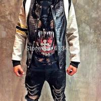 2014 autumn winter new arrive hip hop Holdem Denim brand men jacket clown religion casual splicing stripe PU leather sleeve coat