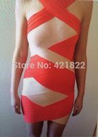 2014 new arrive red and beige crossed halter  bandage Celebrity dress Party Evening Dresses HL dropship & wholesale