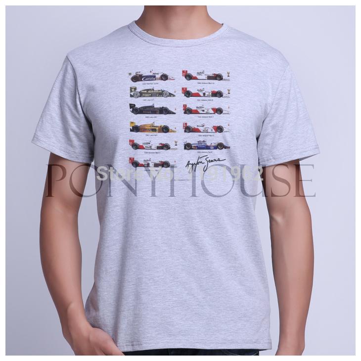 Product ID AM 8 AYRTON SENNA ALL CARS FONE F1 USAPRINT Brand men t shirt NEW cotton lycra T-shirt(China (Mainland))