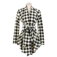 Fashion New Spring Women's Long Sleeve Houndstooth Print Open Stitch Belt Peplum Slim Jacket Cardigan Coat Top Free Shipping