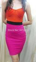 Free shipping 2014 new arrival orange &hot pink strapless bandage Celebrity dress Party Evening Dresses HL dropship & wholesale