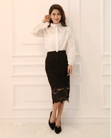 2014 New fashion Free shipping hot sale Hollow out bodycon flower women's midi pencil lace skirt