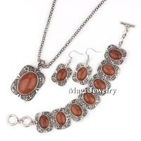4pcs/set Vintage Silver Jewelry Sets Women Natrual Golden Sandstones Necklace Bracelet and Earrings Wedding Gift BFWS