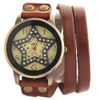 Pastoral style DiamondMax star pattern women dress watch Genuine Cow leather bracelet wristwatch Long strap quartz watch JW1733