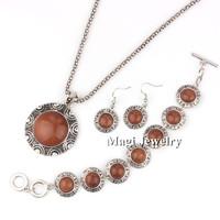 4pcs/set Vintage Silver Jewelry Sets Women Natrual Golden Sandstones Round Necklace Bracelet and Earrings Engagement Gift BFWS