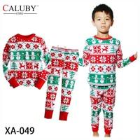 Boys Girls Santa Snowflake Pajamas Sets Kids Autumn -Summer Clothing Set New 2014 Wholesale Children Christmas Pijamas XA-049