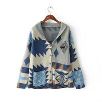 2015 New Arrival  Brand Fashion Women's Vintage Print Pocket Deco Sweater Cardigan Sweaters Jumper