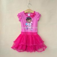 summer girls dress kids clothes  tutu  cotton cartoon girl doctor and bow  veil  dress cake dress   ETJ-Q0192