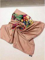 New Arrivals 2014 Women Original Brand Silk Square Scarf  140x140cm Flowers Print Desigual Scarves Lady Winter Scarf Hot Sale