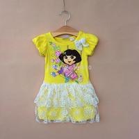 girl dress summer girls dress children's clothing print cartoon flower lace dresses   ETJ-Q0191