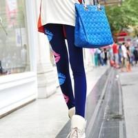 Drop Ship Fitness Legging Printed Women Big Red Lips Leggins Digital Printing Blue Fun Leggings Fashion Girls Punk Pant