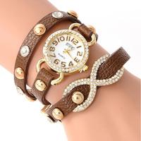 New Arrial PU Leather Strap Watches Fashion Cross Love Bowknot Pattern Diamond bracelet watches Women dress quartz watch JW1730
