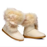 2014 winter snow boots women  fashion imitation fox fur boots women waterproof pu shoes woman