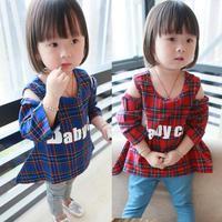 New fall clothing , cotton plaid strapless T-shirt, T-shirt cute female Tong Gezi