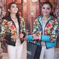 Real photo 907 # 2014 new winter women's flower slim Slim Down coat lady short Europe jacket tide cotton coat L,XL,XXL