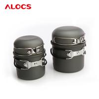 Outdoor Folding Environmental1-2People Cookware Sets Hard Alumina Pans Four-Piece Set Pots Bowl Picnic Pan With Pot Cover CW-C03
