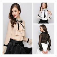 2014 new runway fashion sweet OL ladies solid color Organza ruffles long sleeve petal sleeve chiffon blouse shirt S,M,L