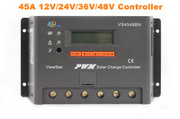 45A 12V 24V 36V 48V Auto PWM Solar Charge Controller LCD Display Connect Solar Panels Battery For Solar System