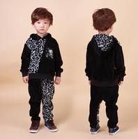 Wholesale free shipping - the new 2014 velvet leopard boy girl virgin suit