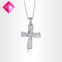 D&Z Hearts and Arrows zircon inlaid gilt double cross necklace Fashion necklace series