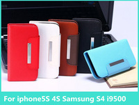 high range Luxury Fashion wallet Leather  With Cash Card Holder Cover case For iPhone5S 4S Samsung Galaxy S4 i9500 Free shipping
