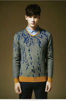 Free shipping new winter men's V-neck knit sweater hedging Floral generous fashion European style