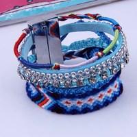 New Design 2014 Fashion Trendy  Rope Bracelet Lover Bracelet multicolor  Clear Crystal Women Sport Bracelet
