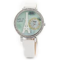 Fashion Personality Korean Stereo Eiffel Tower Watch Fine leather belt diamond Fimo watch Women Dress Quartz WristWatch JW1711