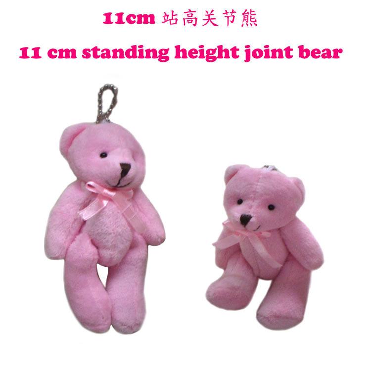 10PCS Super Kawaii Size Small 11CM, pink Joint TED Teddy Bear Plush Stuffed TOY , BAG Charm Chain Pendant, Key Chain(China (Mainland))