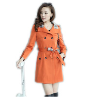 The new women's windbreaker lattice led coat paragraph dust coat grows in the double-breasted coat of cultivate one's morality