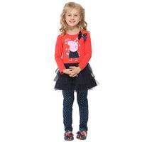 Vestido Infantil Full A-line Christmas Meninas Vestir Pepe The Pig Peppa Summer 2014 New Kids Girls Long Sleeved Dress H4549