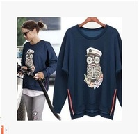 607/8677 New Arrival  Europe Style Casual Shirt O-Neck  OWL Pattern Zip Long Sleeve Women Tops