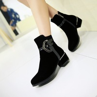 2014 European Shoes Woman Autumn Winter Boots Metal Buckle Ankle Boots For Women Shoes Motorcyle Boots Black 34-39