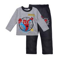 spiderman baby boys girls clothing set kids full winter sleepwear children thick pajamas t-shirts+pants 2pcs sets new 2014